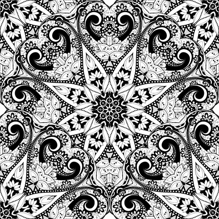 black outline: Vector Seamless Monochrome Ornate Pattern. Hand Drawn Mandala Texture, Vintage Indian Style