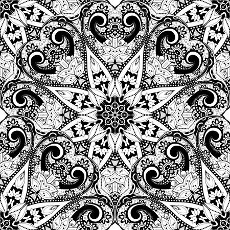Vectorielle Seamless Monochrome Motif Ornement. Hand Drawn Mandala Texture, Style vintage indien