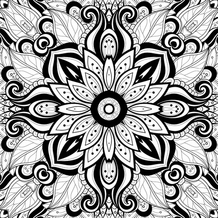 background kaleidoscope: Vector Seamless Abstract Black and White Tribal Pattern. Hand Drawn Ethnic Texture, Flight of Imagination