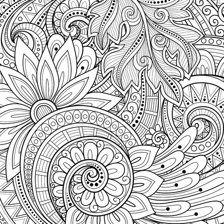 book: Vector Monochrome Floral Background. Hand Drawn Ornament with Flowers. Template for Greeting Card Illustration