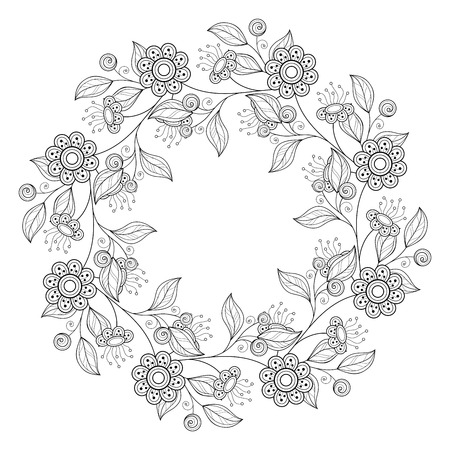 book background: Vector Monochrome Floral Background. Hand Drawn Ornament with Floral Wreath. Template for Greeting Card Illustration