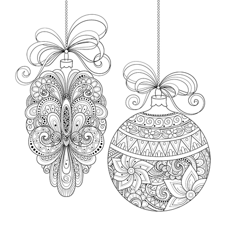 Vector Ornate Monochrome Christmas Decorations. Patterned Objects for Greeting Cards, Holiday Greetings. New Year and Christmas Template