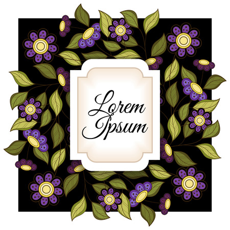 spring flower: Vector Colored Floral Background. Hand Drawn Ornament with Flowers. Template for Greeting Card Illustration