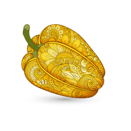 peper: Vector Colored Decorative Bell Pepper with Beautiful Pattern. Hand Drawn Ornate Vegetable