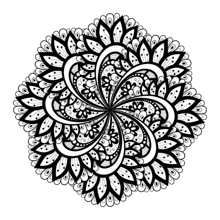 Beautiful Deco Monochrome Contour Mandala, Patterned Design Element, Ethnic Amulet