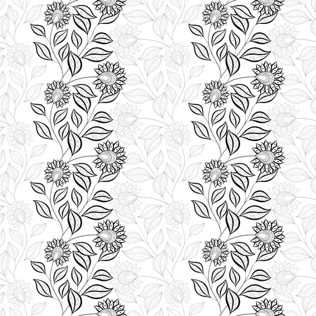 grasses: Seamless Monochrome Floral Pattern. Hand Drawn Floral Texture, Decorative Flowers, Coloring Book