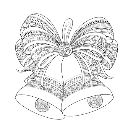 Ornate Monochrome Christmas Golden Bells with Red Bow. Patterned Objects for Coloring Books. New Year and Christmas Template