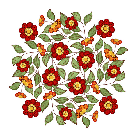 hand drawn flower: Colored Floral Background. Hand Drawn Ornament with Flowers. Template for Greeting Card