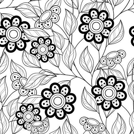 batik: Seamless Monochrome Floral Pattern. Hand Drawn Floral Texture, Decorative Flowers, Coloring Book