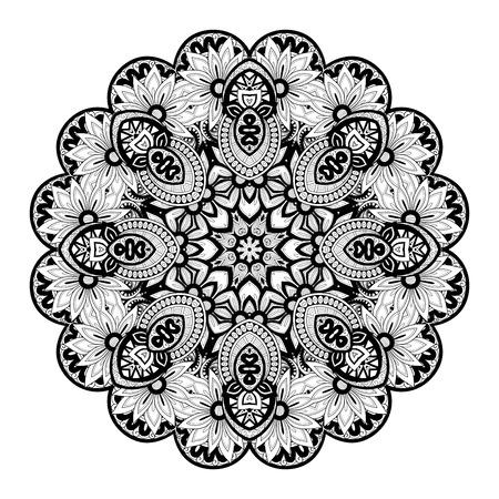 amulet: Deco Monochrome Contour Mandala, Patterned Design Element, Ethnic Amulet
