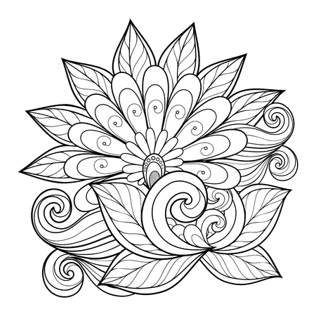 Beautiful Monochrome Contour Flower, Floral Design Element Ilustracja
