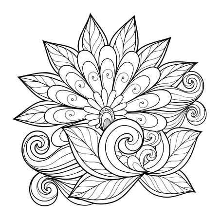 Beautiful Monochrome Contour Flower, Floral Design Element Vettoriali