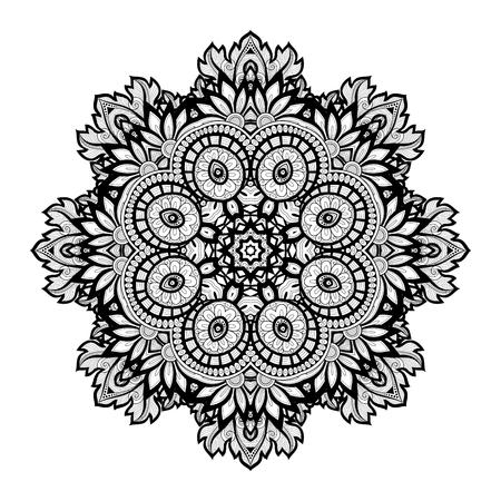 amulet: Beautiful Deco Monochrome Contour Mandala, Patterned Design Element, Ethnic Amulet