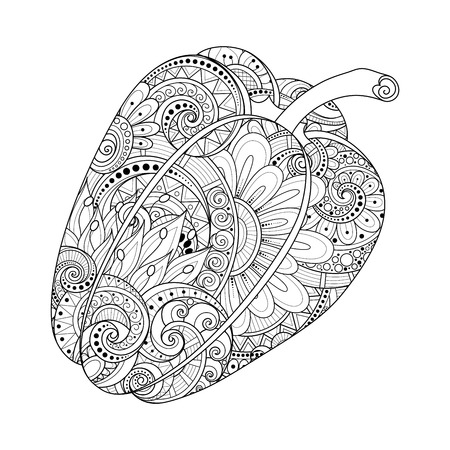Vector Monochrome Decorative Bell Pepper with Beautiful Pattern. Hand Drawn Ornate Vegetable
