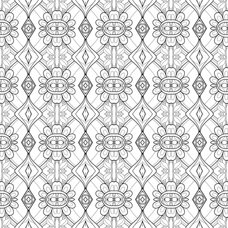 persian art: Vector Seamless Vintage Black and White Lace Pattern. Hand Drawn Tile Texture, Ethnic Ornament