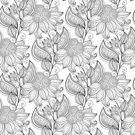 book background: Vector Seamless Monochrome Floral Pattern. Hand Drawn Floral Texture, Decorative Flowers, Coloring Book Illustration