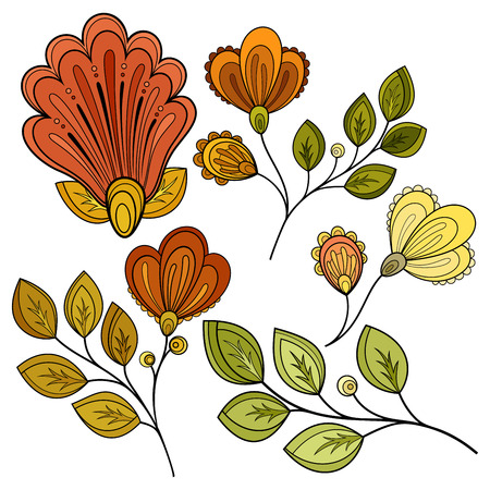 line art: Vector Set of Colored Contour Flowers and Leaves, Floral Design Elements Vectores