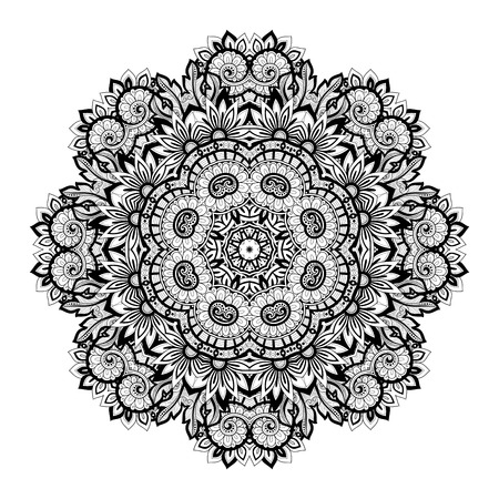 Vector Beautiful Deco Monochrome Contour Mandala, Patterned Design Element, Ethnic Amulet