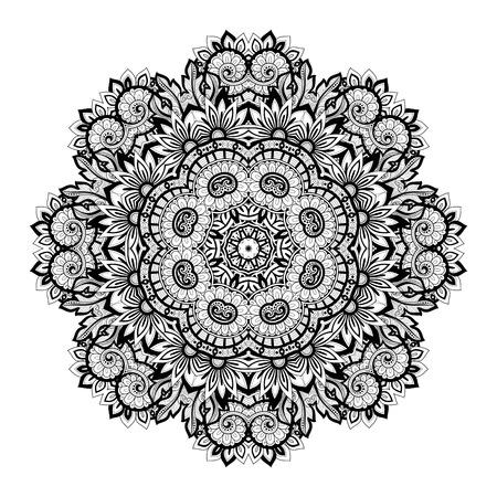 Vector Bella Deco contorno monocromatico Mandala, modellato Elemento del design, Etnica Amuleto Archivio Fotografico - 48734610