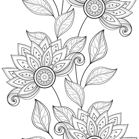 Vector Seamless Monochrome Floral Pattern. Hand Drawn Floral Texture, Decorative Flowers, Coloring Book Stock Illustratie