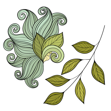 Vector Set of Colored Contour Flowers and Leaves, Floral Design Elements Vector Illustration