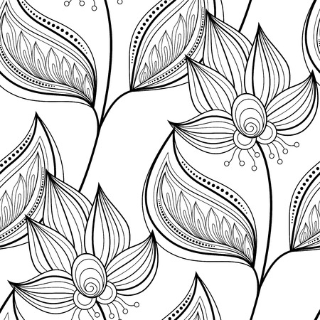 Vector Seamless Monochrome Floral Pattern. Hand Drawn Floral Texture, Decorative Flowers, Coloring Book Illustration