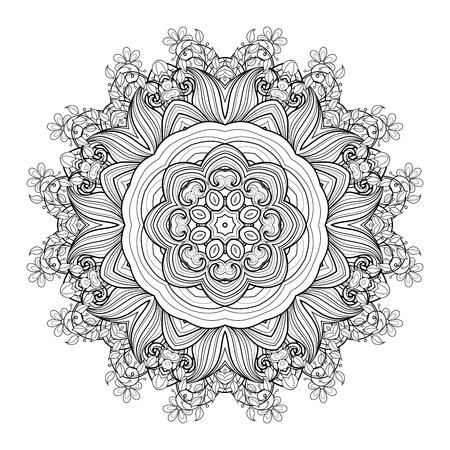 mendi: Deco Monochrome Contour Mandala, Patterned Design Element, Ethnic Amulet