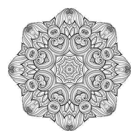 serviette: Deco Monochrome Contour Mandala, Patterned Design Element, Ethnic Amulet