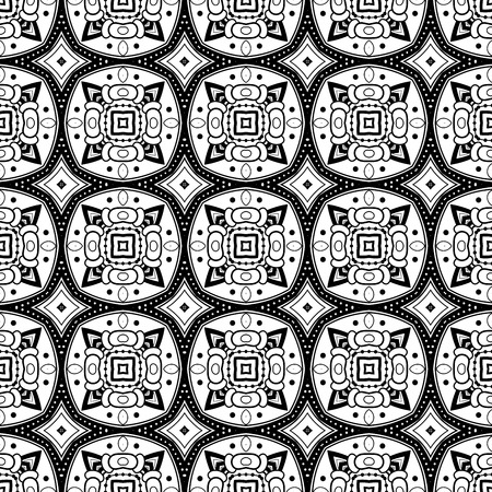 line art: Seamless Vintage Black and White Lace Pattern.  Tile Texture, Ethnic Ornament