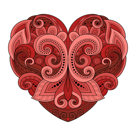 heart abstract: Vector Decorative Colored Abstract Heart. Valentines Day Greeting Card, Ornate Holiday Symbol