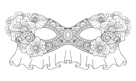 venetian carnival: Vector Ornate Monochrome Mardi Gras Carnival Mask with Decorative Flowers. Object for Greeting Cards, Isolated on White Background