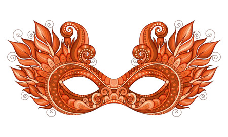 Vector Ornate Red Mardi Gras Carnival Mask with Decorative Feathers. Object for Greeting Cards, Isolated on White Background Illustration