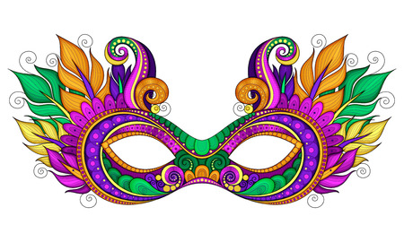 antifaz carnaval: Vector adornado color del carnaval M�scara del carnaval con las plumas ornamentales. Objeto de tarjetas de felicitaci�n con Harlequin colores, aislados en fondo blanco