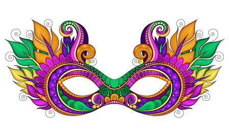 Vector Ornate colorate Mardi Gras Maschera di Carnevale con piume ornamentali. Oggetto per biglietti d'auguri con i colori Harlequin, isolato su sfondo bianco Vettoriali