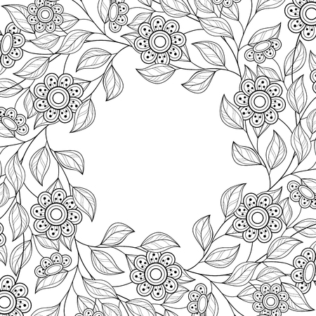 white blossom: Monochrome Floral Background. Hand Drawn Ornament with Floral Wreath. Template for Greeting Card