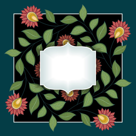 garden flowers: Colored Floral Background. Hand Drawn Ornament with Flowers. Template for Greeting Card