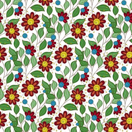 Vector Nahtlose Blumenmuster. Hand Drawn Floral Textur, dekorative Blumen, Coloring Book