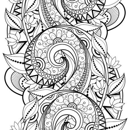 Vector Seamless monochrome Blumenmuster.