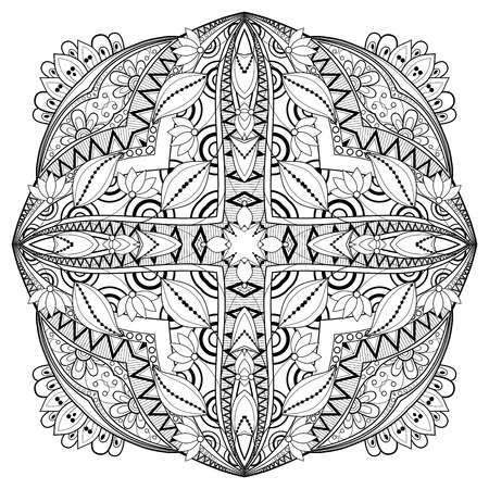 serviette: Vector Beautiful Deco Monochrome Contour Square, Patterned Design Element Illustration