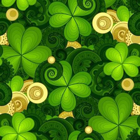 Vector Seamless Floral Pattern with Decorative Clover and Gold Coins. Hand Drawn Saint Patrick's Day Holiday Texture. Colorful Paisley Garden Style