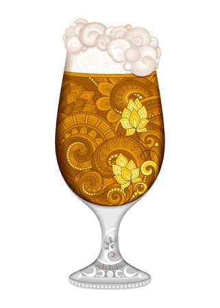 octoberfest: Vector Contour Glass of Beer with Decorative Doodle Pattern. Original Design Element Isolated on White Background for Holiday Print Priducts - Octoberfest, Saint Patricks Day
