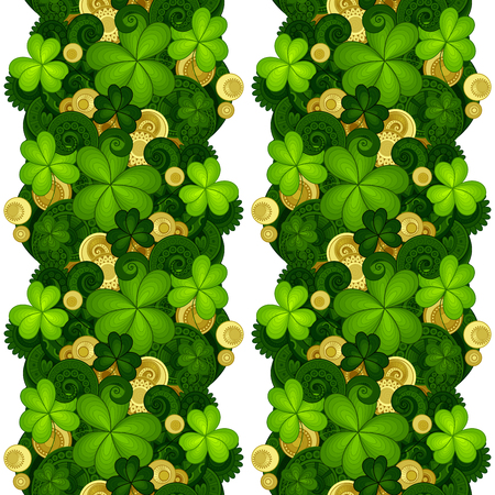 patric: Vector Seamless Floral Pattern with Decorative Clover and Gold Coins. Hand Drawn Saint Patricks Day Holiday Texture. Colorful Paisley Garden Style