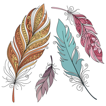 design symbols: Vector Set of Colored Ornate Decorative Feathers. Tribal Collection of Design Elements