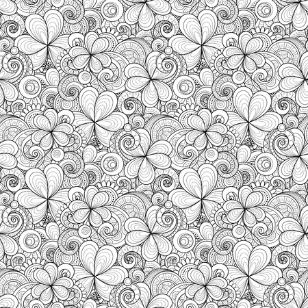 patric: Vector Seamless Monochrome Floral Pattern with Decorative Clover and Coins. Hand Drawn Saint Patricks Day Holiday Texture. Paisley Garden Style Illustration