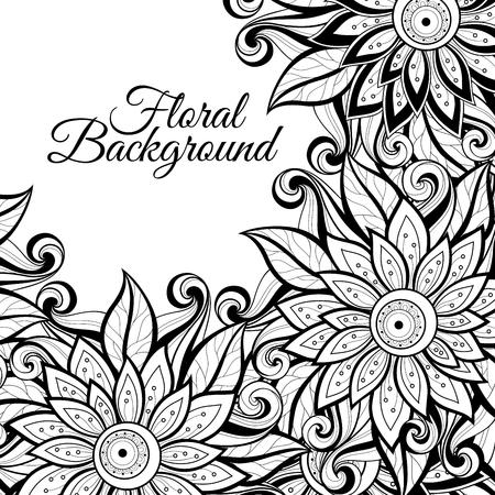 Vector de fondo floral monocromo. Mano dibujado ornamento con flores. Plantilla para tarjeta de felicitación
