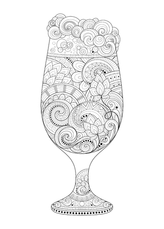 octoberfest: Vector Monochrome Contour Glass of Beer with Decorative Doodle Pattern. Original Design Element for Holiday Print Priducts - Octoberfest, Saint Patricks Day Illustration