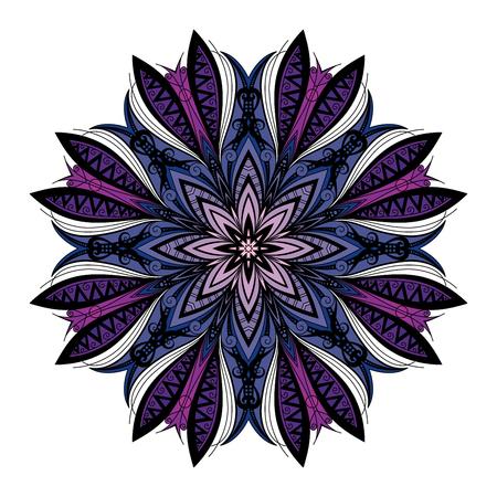 mendi: Vector Beautiful Deco Colored contour Mandala, Patterned Design Element, Ethnic Amulet Illustration