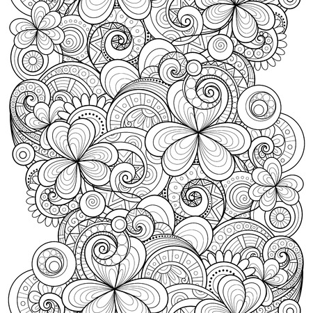 patric day: Vector Seamless Monochrome Floral Pattern with Decorative Clover and Coins. Hand Drawn Saint Patricks Day Holiday Texture. Paisley Garden Style Illustration