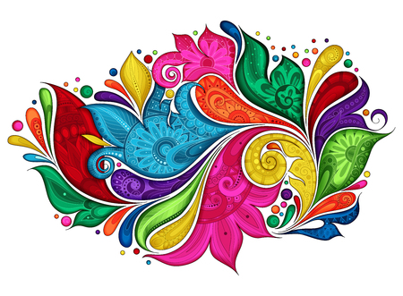 Vector Colored Floral Background. Hand Drawn Ornament with Flowers. Template for Greeting Card Illustration