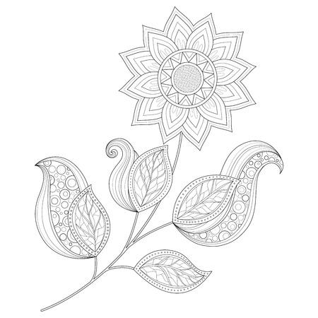 Vector Beautiful Monochrome Contour Flower, Floral Design Element